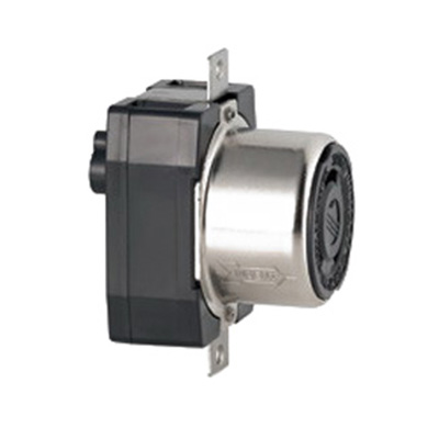 Leviton 7379 Locking Receptacle; Box/Flush Mount, 600/250 Volt AC/Volt DC, 50 Amp, 3-Pole, 4-Wire, Black