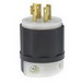 Leviton 2461 Black & White® Polarized Non-Grounding Locking Plug; 20 Amp, 347/600 Volt, 4-Pole, 4-Wire, NEMA L20-20P, Black/White
