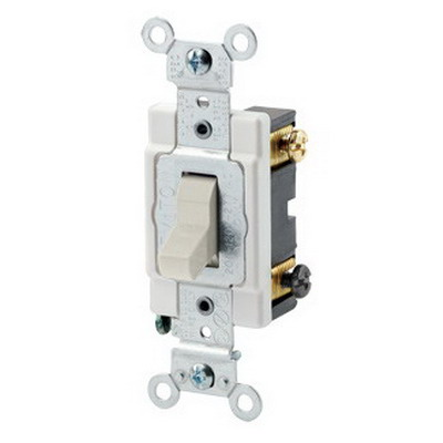 Leviton CSB3-20T Commercial Toggle 3-Way AC Quiet Switch 1-Pole  120/277 Volt AC  20 Amp  Light Almond