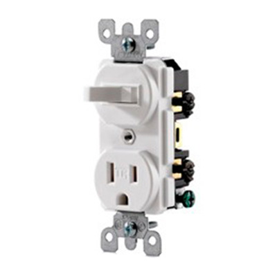 Leviton T5225-T Decora® AC Duplex Combination Switch with Receptacle; 120 Volt AC Switch, 125 Volt AC Receptacle, 15 Amp, 1-Pole, Grounding, Light Almond