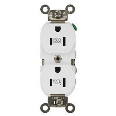 Leviton WBR15-W Weather-Resistant Straight Blade Duplex Receptacle; Wallbox Mount, 125 Volt, 15 Amp, 2-Pole, 3-Wire, NEMA 5-15R, White