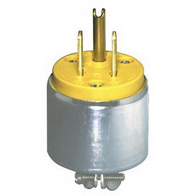 Leviton 515PA Polarized Grounding Armored Straight Blade Plug; 15 Amp, 125 Volt, 2-Pole, 3-Wire, NEMA 5-15P, Yellow