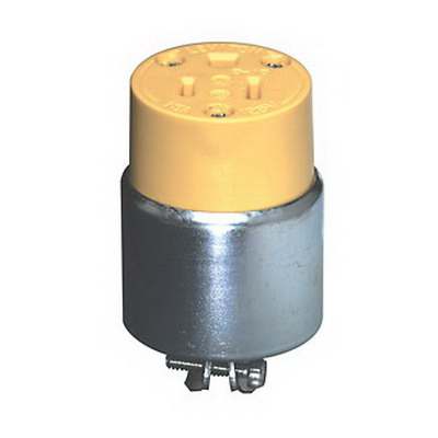 Leviton 515CA Armored Grounding Straight Blade Connector; 15 Amp, 125 Volt AC, 2-Pole, 3-Wire, NEMA 5-15R, Yellow