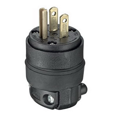 Leviton 515PR Polarized Grounding Straight Blade Plug; 15 Amp, 125 Volt, 2-Pole, 3-Wire, NEMA 5-15P, Black