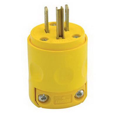 Leviton 515PV Polarized Grounding Straight Blade Plug; 15 Amp, 125 Volt, 2-Pole, 3-Wire, NEMA 5-15P, Yellow