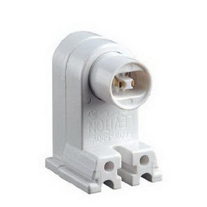 Leviton 13464-W Fluorescent Lampholder; 600 Volt, 660 Watt, Pedestal Slide-On/Screw Mount, White