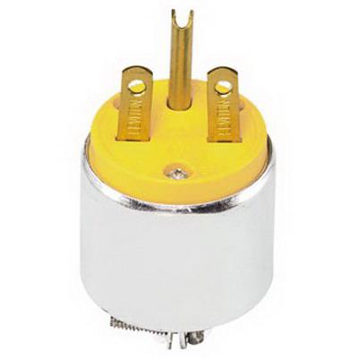 Leviton 615PA Polarized Grounding Armored Straight Blade Plug; 15 Amp, 250 Volt, 2-Pole, 3-Wire, NEMA 6-15P, Yellow