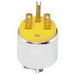 Leviton 615PA Polarized Grounding Armored Straight Blade Plug; 15 Amp, 250 Volt, 2-Pole, 3-Wire, NEMA 6-15P, Yellow