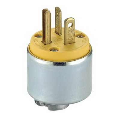 Leviton 620PA Polarized Grounding Armored Straight Blade Plug; 20 Amp, 250 Volt, 2-Pole, 3-Wire, NEMA 6-20P, Yellow