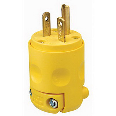 Leviton 620PV Polarized Grounding Straight Blade Plug; 20 Amp, 250 Volt, 2-Pole, 3-Wire, NEMA 6-20P, Yellow