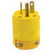 Leviton 520PV Polarized Grounding Straight Blade Plug; 20 Amp, 125 Volt, 2-Pole, 3-Wire, NEMA 5-20P, Yellow