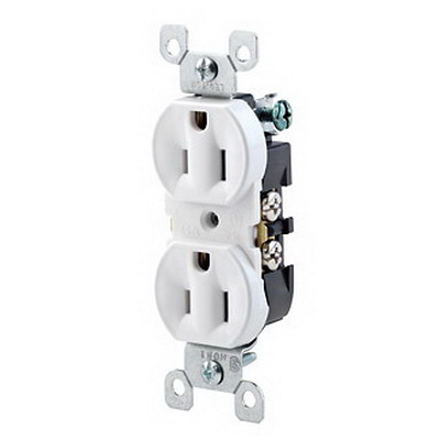 Leviton 5320-ICP Straight Blade Contractor Pack Duplex Receptacle with Ears; Wallplate Mount, 125 Volt, 15 Amp, 2-Pole, 3-Wire, NEMA 5-15R, Ivory