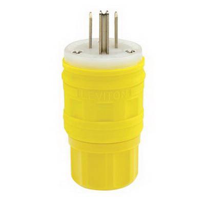 Leviton 14W47 Wetguard® Watertight Grounding Straight Blade Male Plug; 15 Amp, 125 Volt, 2-Pole, 3-Wire, NEMA 5-15P, Yellow