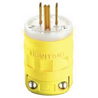 Leviton 1447 Dustguard Grounding Straight Blade Male Plug; 15 Amp, 125 Volt, 2-Pole, 3-Wire, NEMA 5-15P, Yellow