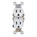 Leviton 5320-SW Straight Blade Duplex Receptacle with Ears; Wallplate Mount, 125 Volt, 15 Amp, 2-Pole, 3-Wire, NEMA 5-15R, White