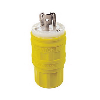 Leviton 24W47 Wetguard® Watertight and Dust-Tight ® Polarized Grounding Locking Plug; 15 Amp, 125 Volt, 2-Pole, 3-Wire, NEMA L5-15P, Yellow
