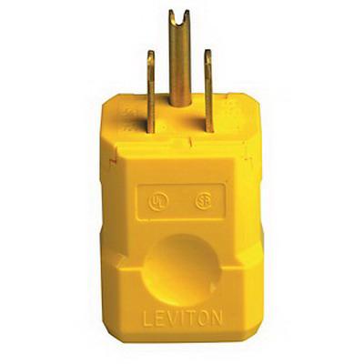 Leviton 5256-VY Python® Polarized Grounding Straight Blade Plug; 15 Amp, 125 Volt, 2-Pole, 3-Wire, NEMA 5-15P, Yellow