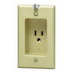 Leviton 688-I 1-Gang Square Recessed Single Receptacle with Clock Hanger Hook; Flush, Wall Mount, 125 Volt, 15 Amp, 2-Pole, 3-Wire, NEMA 5-15R, Ivory