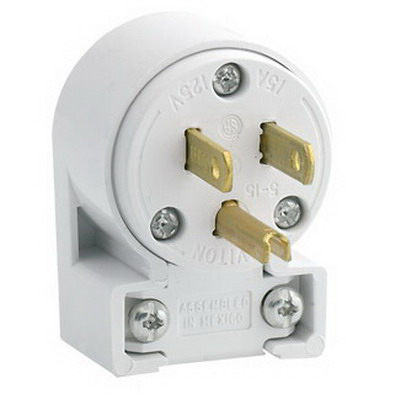 Leviton 515AN Polarized Grounding Straight Blade Angle Plug; 15 Amp, 125 Volt, 2-Pole, 3-Wire, NEMA 5-15P, White