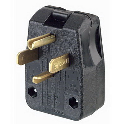 Leviton 275-T Travel Trailer Polarized Grounding Dual-Power Straight Attachment Angle Plug; 30/50 Amp, 125/250 Volt, 3-Pole, 4-Wire, NEMA 14-30P, 14-50P, Black