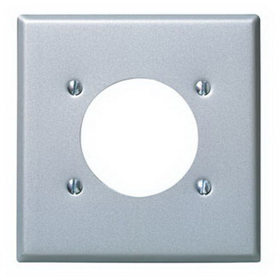 Leviton 4934 Standard Size 2-Gang Single Receptacle Plate; Device Mount, Stainless Steel, Aluminum