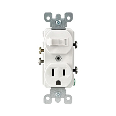 Leviton 5225-I Decora® AC Duplex Combination Switch with Receptacle; 120 Volt AC Switch, 125 Volt AC Receptacle, 15 Amp, 1-Pole, Grounding, Ivory