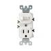 Leviton 5225-I Decora® AC Duplex Combination Switch with Receptacle; 120 Volt AC Switch, 125 Volt AC Receptacle, 15 Amp, 1-Pole, Grounding, Ivory