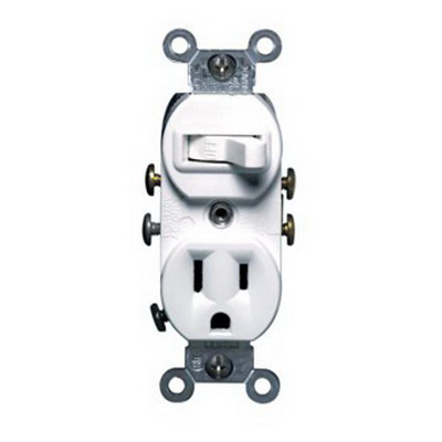 Leviton 5225-WSP Decora® AC Combination Switch with Receptacle; 120 Volt, 15 Amp, 1-Pole, Grounding, White