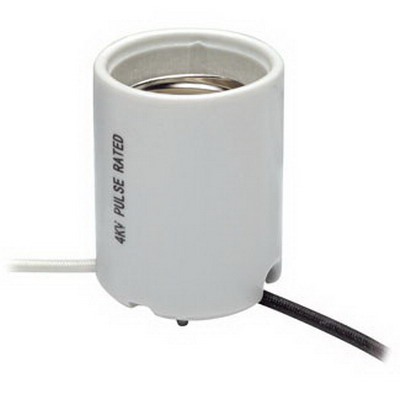 Leviton 8756-2 Keyless HID Lampholder; 600 Volt, 400 Watt, Mogul Base, White