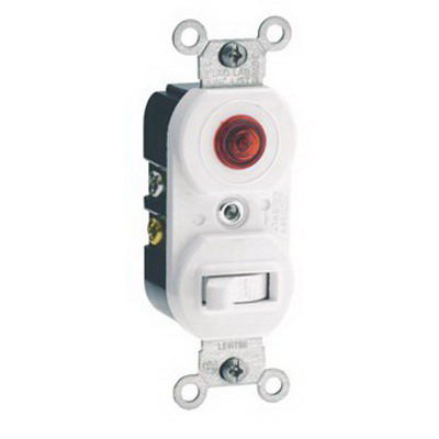 Leviton 5226-I Decora® AC Duplex Combination Switch with Neon Pilot Light; 120/277 Volt AC Switch, 120 Volt AC Pilot Light, 15 Amp, 1-Pole, Non-Grounding/Grounding, Ivory