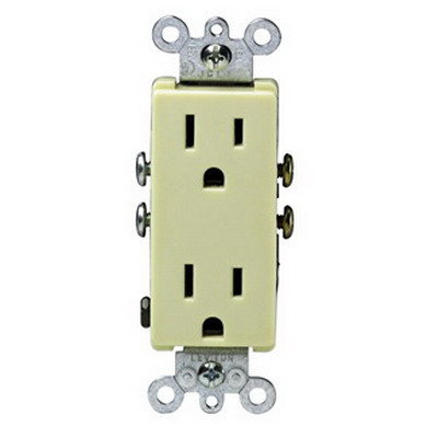 Leviton 5325-I Decora® Residential Straight Blade Duplex Receptacle; Wallplate Mount, 125 Volt, 15 Amp, 2-Pole, 3-Wire, NEMA 5-15R, Ivory