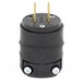 Leviton 115PR Non-Polarized Non-Grounding Straight Blade Plug; 15 Amp, 125 Volt, 2-Pole, 2-Wire, NEMA 1-15P, Black