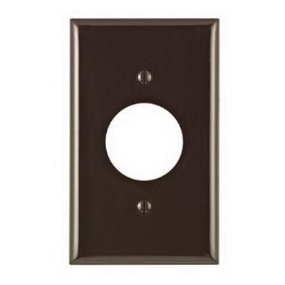 Leviton 80704 Standard Size 1-Gang Single Receptacle Plate; Device Mount, Thermoplastic Nylon, Brown