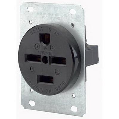 Leviton 8430 Straight Blade Power Receptacle; Flush Mount, 250 Volt AC, 30 Amp, 3-Pole, 4-Wire, NEMA 15-30R, Black