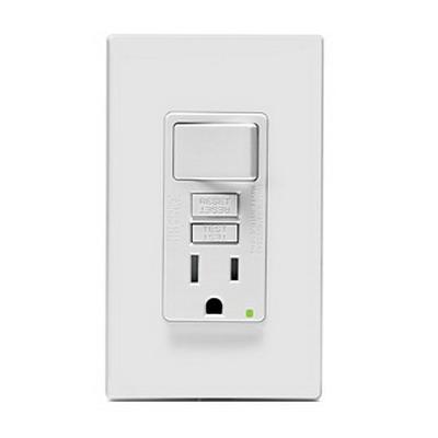 Leviton X7299-PW Decora® SmartLockPro Combination Switch with GFCI Single Receptacle and LED Indicator; 125 Volt, 15 Amp, 2-Pole, Self Grounding, White