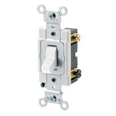 Leviton CSB3-20W Commercial Toggle 3-Way AC Quiet Switch; 1-Pole, 120/277 Volt AC, 20 Amp, White