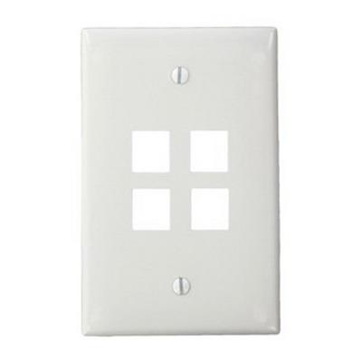 Leviton 41091-4WN QuickPort® Midway Size 1-Gang Wallplate; Box Mount, High-Impact Nylon, White