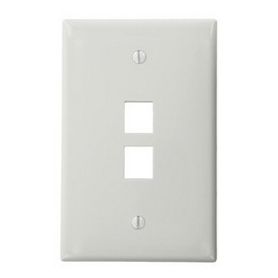 Leviton 41091-2WN QuickPort® Midway Size 1-Gang Wallplate; Box Mount, High-Impact Nylon, White
