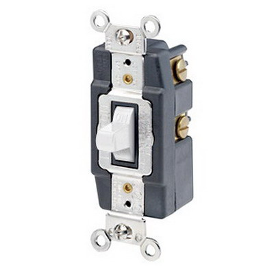 Leviton 1257-W Toggle AC Quiet Wall Switch; 1-Pole, SPDT, 120/277 Volt AC, 20 Amp, White