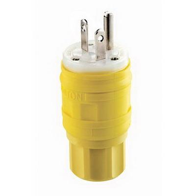 Leviton 14W33 Wetguard® Watertight Grounding Straight Blade Plug; 20 Amp, 125 Volt, 2-Pole, 3-Wire, NEMA 5-20P, Yellow