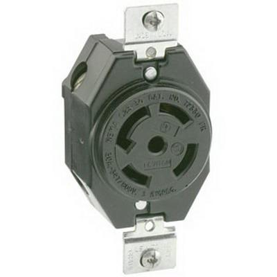 Leviton 2820 #2CD Locking Receptacle; Box/Flush Mount, 277/480 Volt, 30 Amp, 4-Pole, 5-Wire, NEMA L22-30R, Black