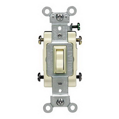 Leviton 54504-2A Commercial Toggle Framed 4-Way AC Quiet Switch; 2-Pole, 120/277 Volt AC, 15 Amp, Almond
