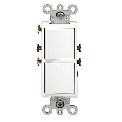 Leviton 5627-W Decora® AC Combination Switch; 120/277 Volt AC, 20 Amp, 1-Pole, Grounding, White