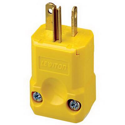 Leviton 5456-VY Python® Polarized Grounding Straight Blade Plug; 20 Amp, 250 Volt, 2-Pole, 3-Wire, NEMA 6-20P, Yellow