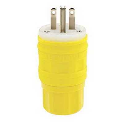 Leviton 14W49 Wetguard® Watertight Polarized Grounding Straight Blade Plug; 15 Amp, 250 Volt, 2-Pole, 3-Wire, NEMA 6-15P, Yellow