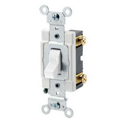Leviton CSB1-15W Commercial Toggle AC Quiet Switch; 1-Pole, 120/277 Volt AC, 15 Amp, White