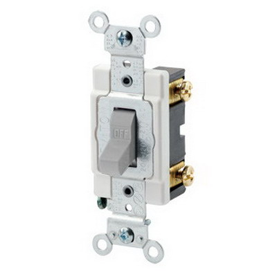 Leviton CSB1-20G Commercial Toggle AC Quiet Switch; 1-Pole, 120/277 Volt AC, 20 Amp, Gray