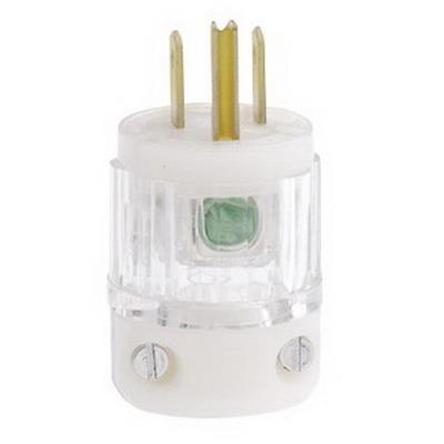 Leviton 8215-PLC Black & White® Polarized Grounding Straight Blade Plug with Power Indication; 15 Amp, 125 Volt, 2-Pole, 3-Wire, NEMA 5-15P, Transparent