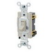 Leviton 54503-2W Commercial Toggle Framed 3-Way AC Quiet Switch; 1-Pole, 120/277 Volt AC, 15 Amp, White