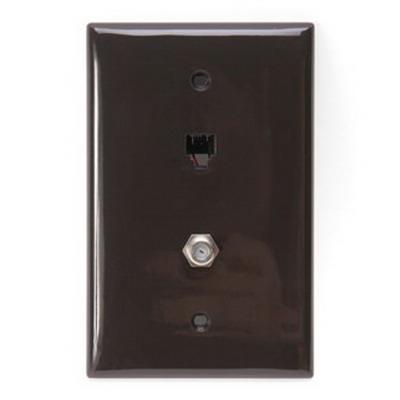 Leviton 40539-CMB eXtreme® Midway Size 1-Gang Wallplate; Flush Mount, Nylon, Brown